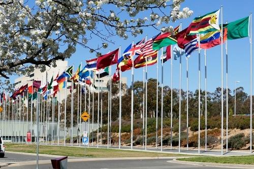 Plus de 900 législateur de 35 pays et régions ont signé une déclaration commune faisant appel pour qu'il soit mis fin à la persécution contre le Falun Gong en Chine. La photo ci-dessus fait état des drapeaux internationaux sur la rive sud du lac Burley Griffin à Canberra, capitale de l'Australie.