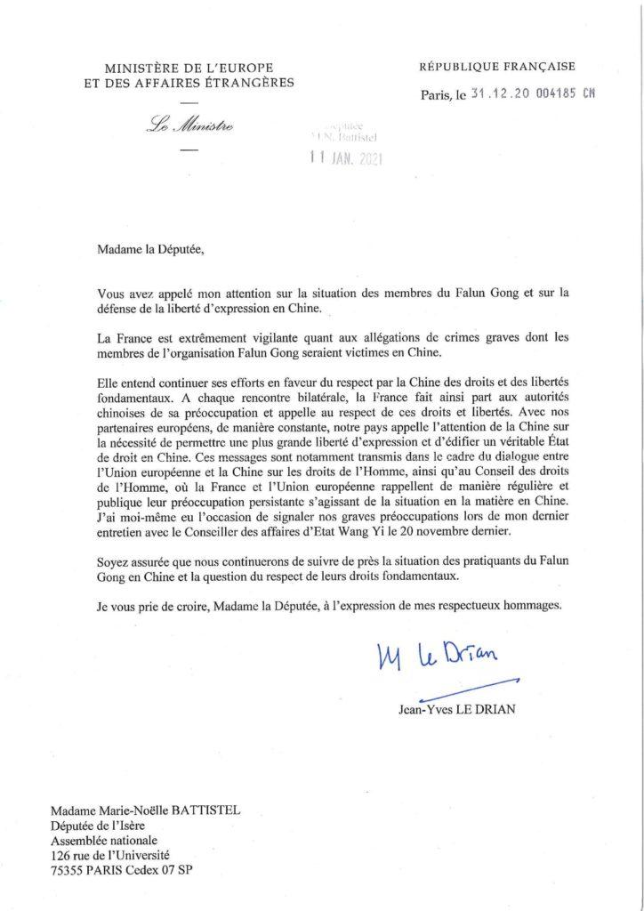 Lettre de soutien au Falun Gong de Monsieur Jean-Yves Le Drian, ministre des affaires étrangères, envoyée à Madame Marie-Noëlle Battistel , députée de l'Isère.