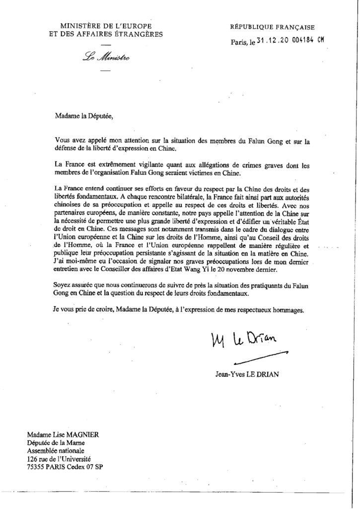 Lettre de soutien de Monsieur Jean-Yves Le Drian, ministre des affaires étrangères, envoyée à Madame Lise Magnier députée de la Marne.
