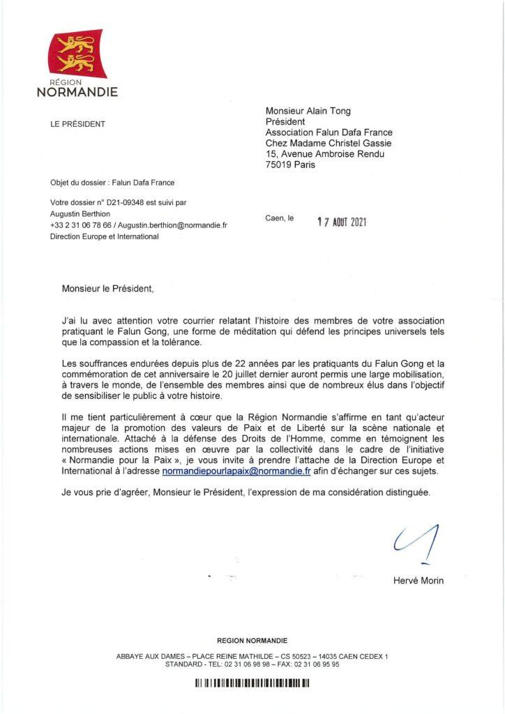 Hervé Morin rédige un courrier et soutient les actions du Falun gong.